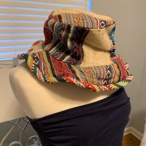 Patchwork hat made with Hemp.